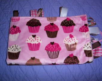 Cupcakes for your Cupcake - luxurious soft 23x28 minky binky blanket with toy/pacifier clip, ribbons for touch and feel - recycle party
