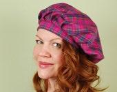 Scottish tam hat- LORNA- Magenta Plaid - size M/L- cotton flannel