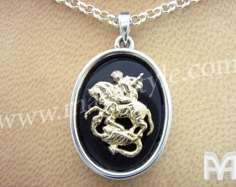 Sterling Silver and Gold Saint George Pendant