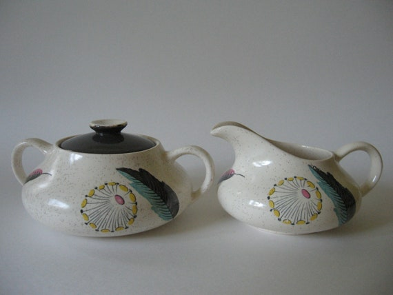 Vintage Safari April Showers from Myotts England creamer and sugar set atomic leaves feathers