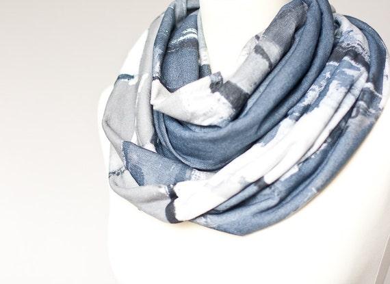 Infinity Scarf Versatile Cowl Loop Blue Jean Denim Gray neutral modern urban minimalist gifts for men