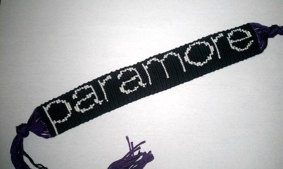 Black, White, and Purple Paramore Wristband Friendship Bracelet