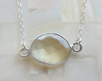 Step-Cut Faceted Oval Lemon Quartz Sterling Silver Bezel Connector Necklace (N1442)