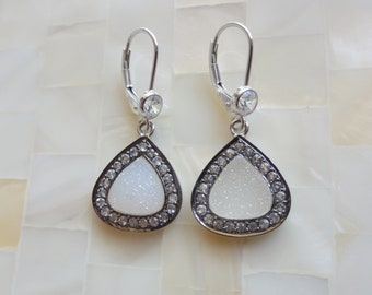 Sterling Silver Rhodium White Druzy & White Topaz Pave Dangles on CZ Sterling Silver Leverback Earrings (E1172)
