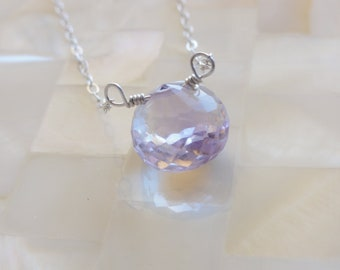 Faceted Pink Amethyst Onion Briolette on Sterling Silver Chain Necklace (N1149)