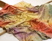 Hand Dyed Bamboo Knit Receiving Blanket, Swaddling Blanket,  in Bright Boy Rainbow, the Cadara Bu