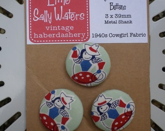 3 x Vintage 1940s Cowgirl Western Fabric Covered Buttons 39mm Metal Shank