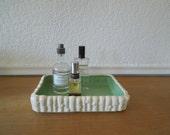 Mint Green Art Pottery Tray, Metlox Bulb Planter, 1930s P722