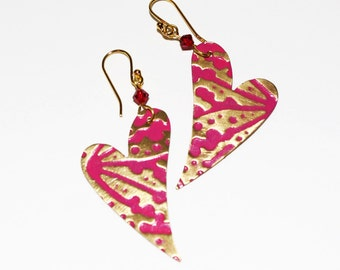 Earring Heart Dangles Hand Painted and Embossed