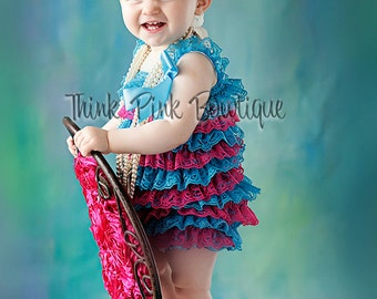 CLEARANCE Baby girl hot pink and teal petti lace romper, petti romper,petti lace romper