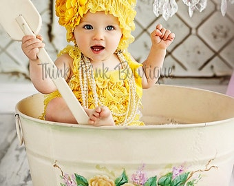 YOU PICK petti lace romper, infant romper,baby romper, lace romper, Yellow baby romper, baby 1st birthday, Ruffle romper, Baby girls romper.