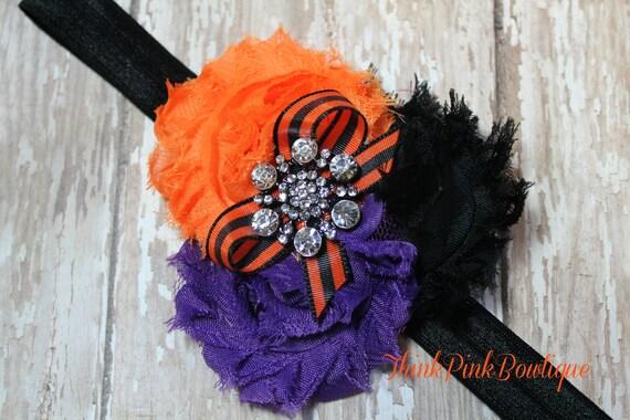 Adorable Halloween baby headband in black purple and orange, shabby chic headband, flower trio headband,baby girl headband, baby bows.
