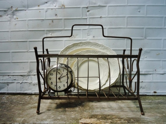 Metal Magazine Stand - Lovely Patina