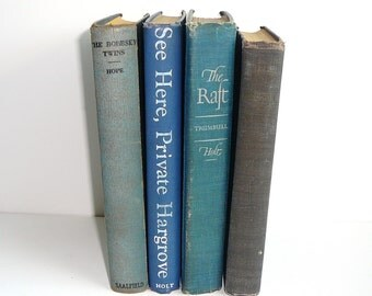 FADED BLUE Decorative Books Shabby Chic Decor Instant Library Book Set Old Books Tattered Books Props