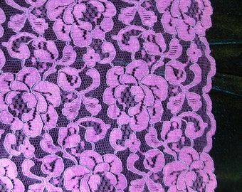 Purple Re-Embroidered, Double Border Lace   1 Yard   (SM291)