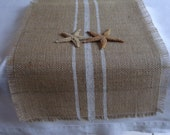 Burlap Grain Sack Table Runner Wedding/Baptism 10-14x84 Rustic Table Decor by sweetjanesplan