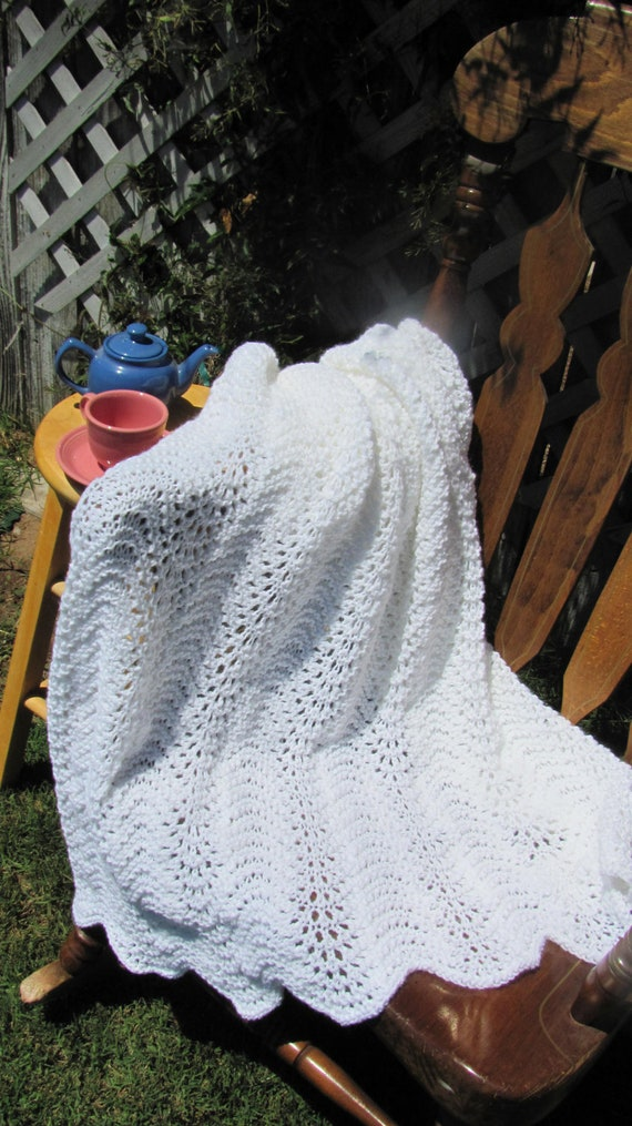 Afghan knitted wrap or throw white ripple