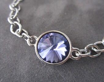 Tanzanite Bracelet, Purple Crystal Birthstone Jewelry, Silver Chain, December Birthstone Bracelet, Tanzanite Jewelry