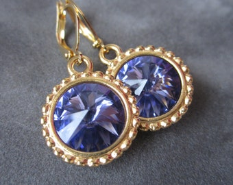 Gold Tanzanite Earrings, December Birthstone Earrings, Purple Rhinestone Jewelry, Tazanite Jewelry, Gold Drop Earrings