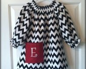 Black and White Chevron Peasant with Initial on Pocket Long or Short Sleeve