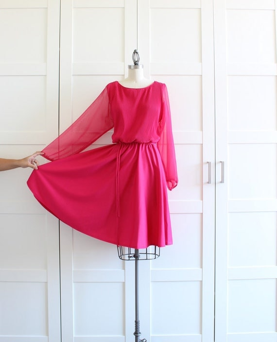 SALE - Vintage Party Dress, Hot Pink Princess Pleated Dress Full Skirt with Sheer Sleeves, size Large XL