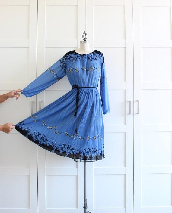 Vintage Day Dress, Pleated Dress by Hal Ferman, Long Sleeve Dress size Large XLarge