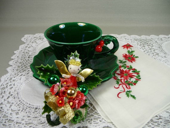 Christmas Teacup & Saucer Lefton Holly with Corsage Angel Pin and Embroidered Hankie Gift Set