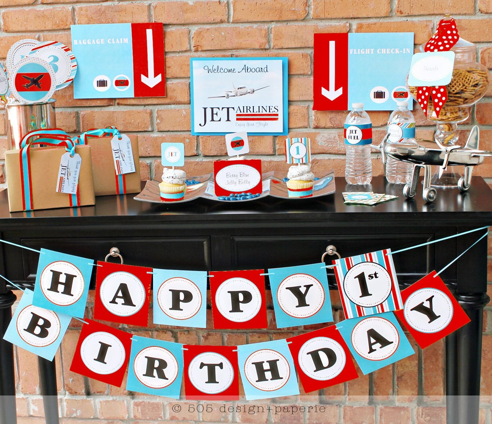 Printable airplane party decorations red blue by by for Airplane party decoration
