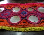 Mirrored Embroidery Veil Edge Tribal Bellydance Costume Component pink purple orange
