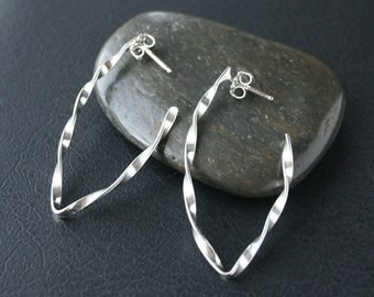V Shape Hoop-Like Earrings - Sterling Silver Twisted Style Contemporary Lightweight Design