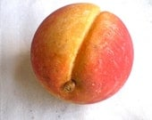 "Peach, Vintage, Stone Fruit,  Italian, Hand Carved, Marble, Made in Italy, Hand Painted,  2 1/2"" across, 1950's"