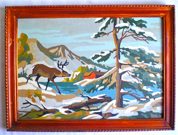 """Paint by Number, Vintage, Painting, Framed, Deer, Mountains. Cabin, Snow, 12"""" x 16"""""""