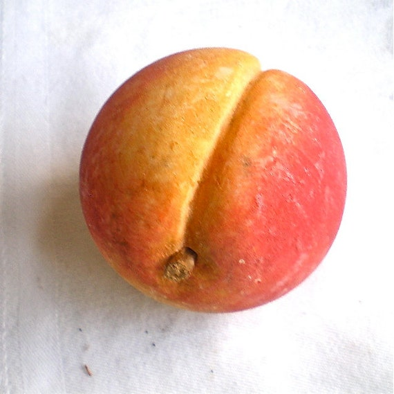 """Peach, Vintage, Stone Fruit,  Italian, Hand Carved, Marble, Made in Italy, Hand Painted,  2 1/2"""" across, 1950's"""
