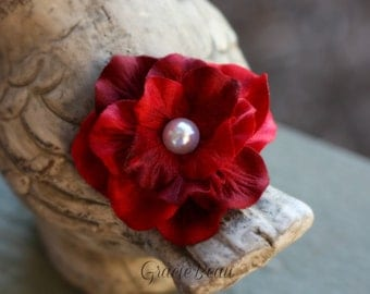 Deep Red Flower Hair Clip With Pearl Center