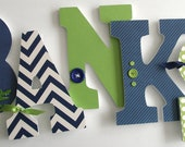 Navy Blue & Green Custom Wooden Letters, Personalized Nursery Name Décor, Boy Bedroom, Wood Wall Decorations, Birthday Baby Shower Gift