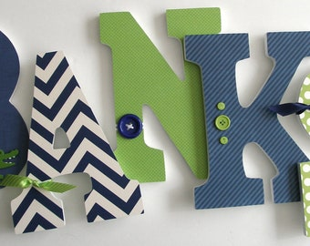 navy blue green custom wooden letters personalized nursery name dcor boy bedroom wood wall decorations birthday baby shower gift