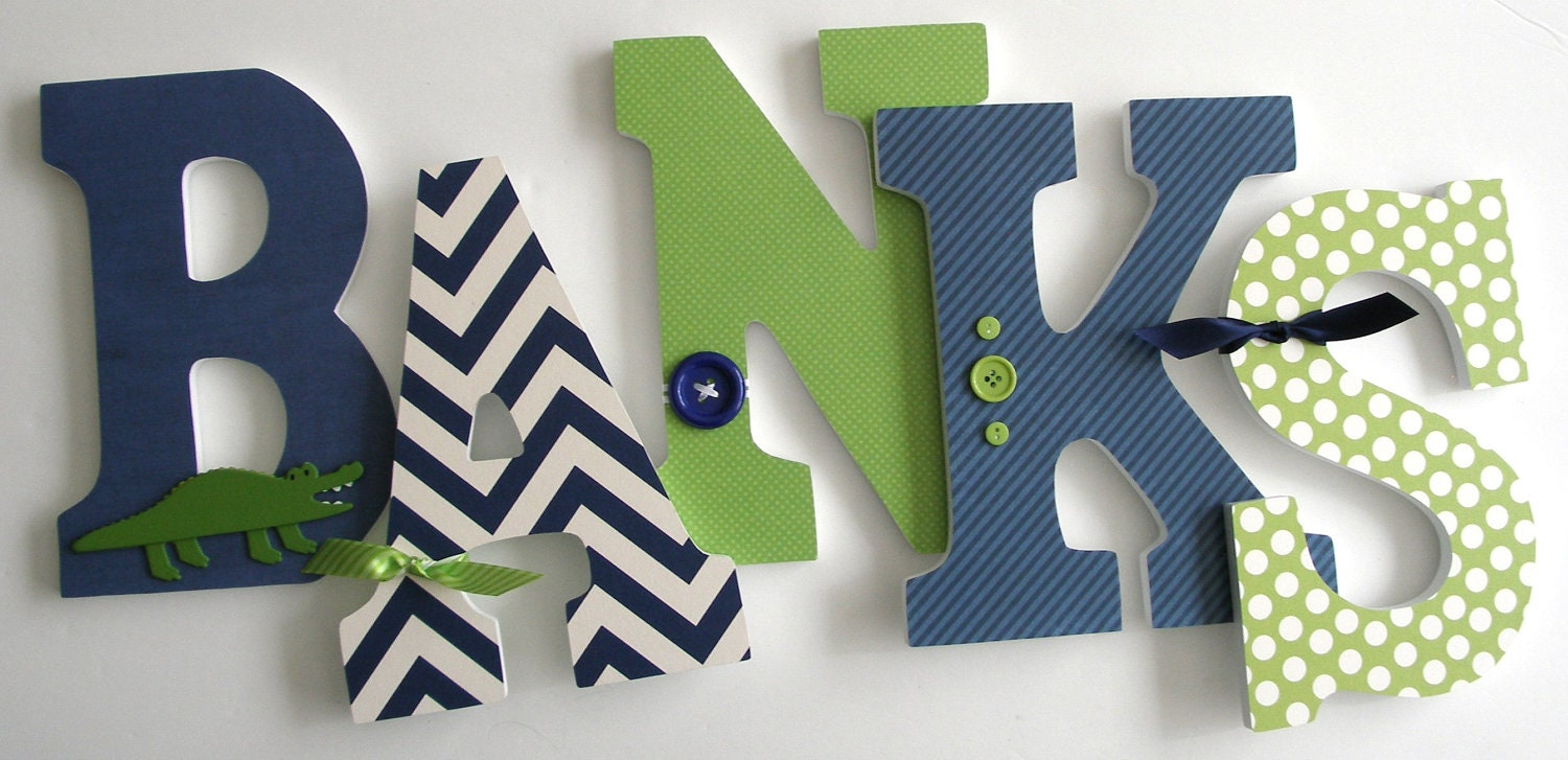 Navy blue green custom wooden letters personalized nursery for Baby room decoration letters