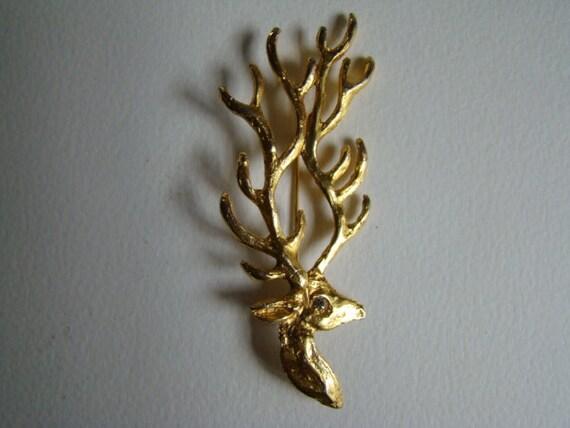 YSL Yves Saint Laurent Rive Gauche Deer Brooch