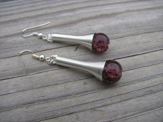 Silver, Purple Beaded Earrings