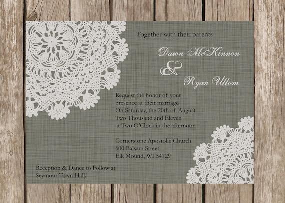 Rustic Western Wedding Invitations: Custom Rustic Doily Wedding Invitation By DawnMarieCreations82