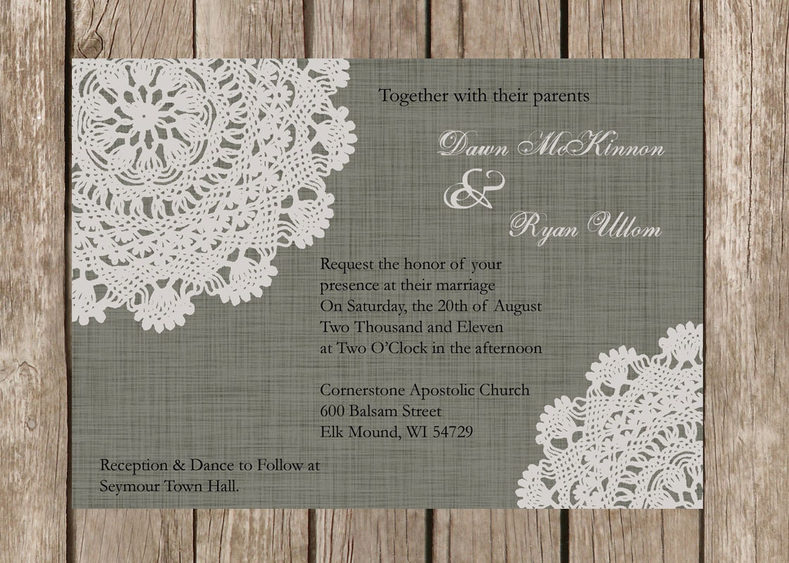 Custom Rustic Doily Wedding Invitation By DawnMarieCreations82