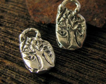 Artisan Tree of Life Charms - Sterling Silver - 2 Small Handcrafted Family Life Symbols AC123
