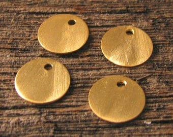Round GOLD VERMEIL Charms - 10 Small Brushed Disk Charms 9mm C34a