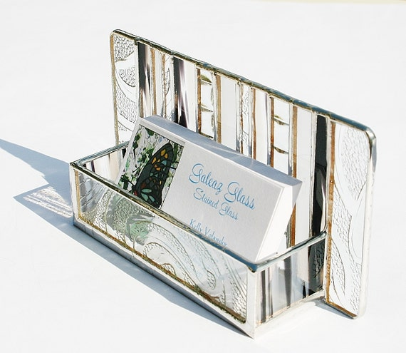 Stained Glass Business Card Holder Black White Clear Architectural Art Glass Modern Contemporary Office Desk Accessory Handmade OOAK Striped