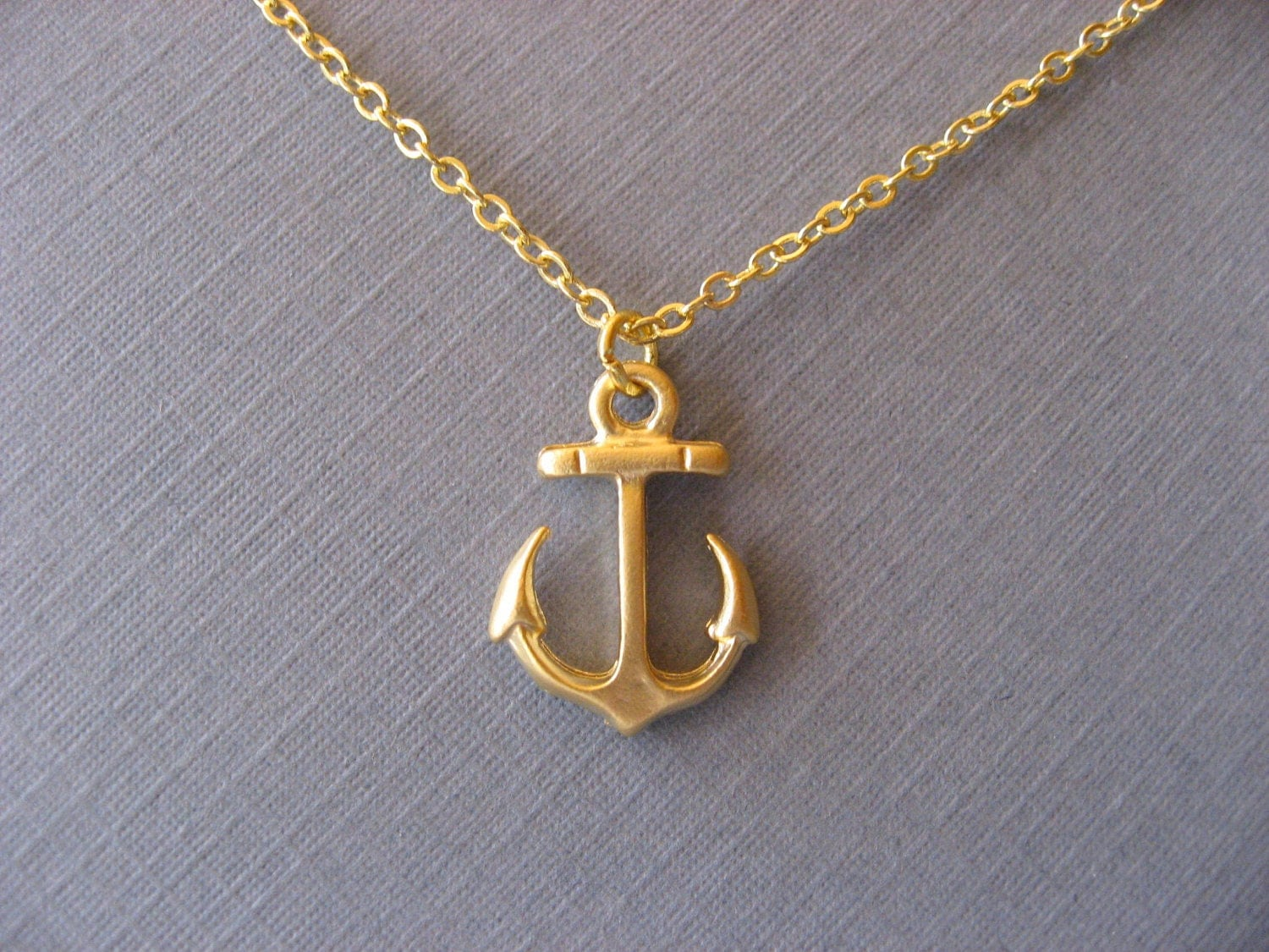 gold anchor necklace nautical pendant necklace by