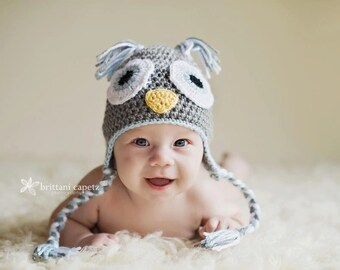 Crochet Baby Owl Earflap Hat - Newborn to 10 years - Heather Grey, Silver Heather, Soft Blue - MADE TO ORDER