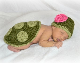 Crochet Newborn Turtle Shell and Hat Set Photo Prop - MADE TO ORDER