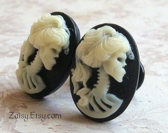 Skull Goddess Cameo Plugs for Gauged Ears Sizes 1/2 Inch, 00g, 0G, 2G, 4G , 6G, Earrings Available