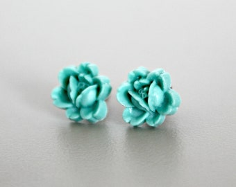 Flower Earrings, Aqua Handmade Resin Rosettes with Hypoallergenic Titanium Posts/Studs