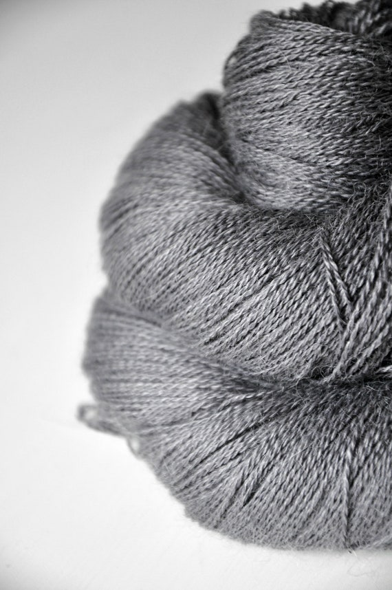 Charcoal ashes OOAK - Baby Alpaca / Silk yarn lace weight